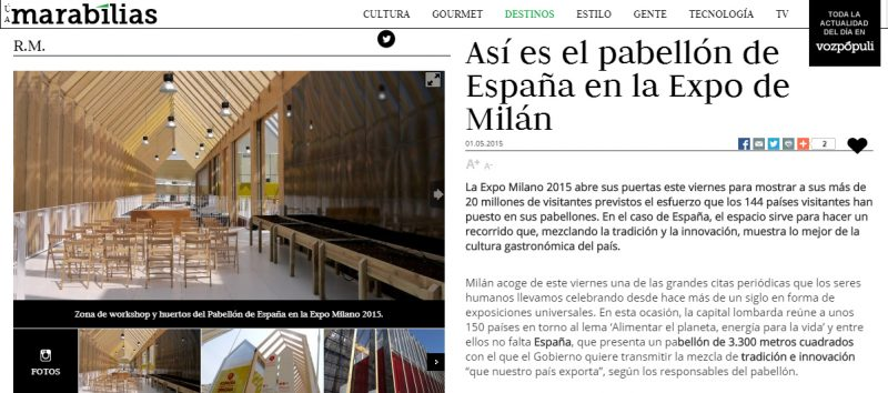 Spanish Pavilion for the Milan Expo 2015 at vozpopuli