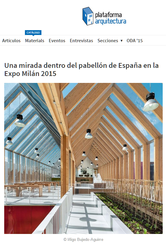 Spanish Pavilion for the Milan Expo 2015 at plataforma arquitectura