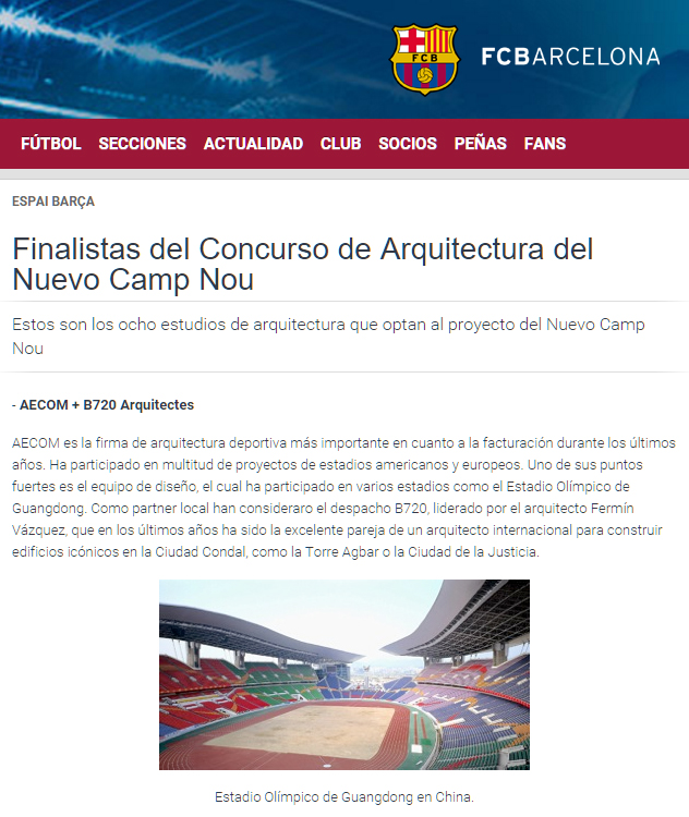Aecom + b720 Fermín Vázquez Arquitectos at the finals to the tender for the New Camp Nou