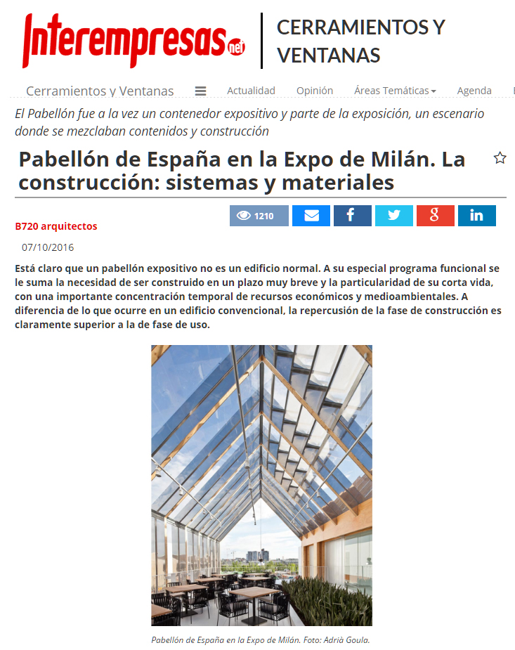 Spanish Pavilion for the Milan Expo 2015 at Interempresas