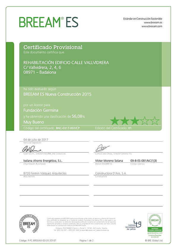 The Germina Fundació Project has been certified BREEAM NC with the level of VERY GOOD certification